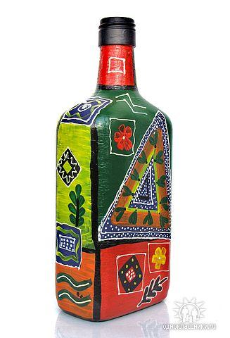 Декор бутылки - роспись яркими акриловыми красками
