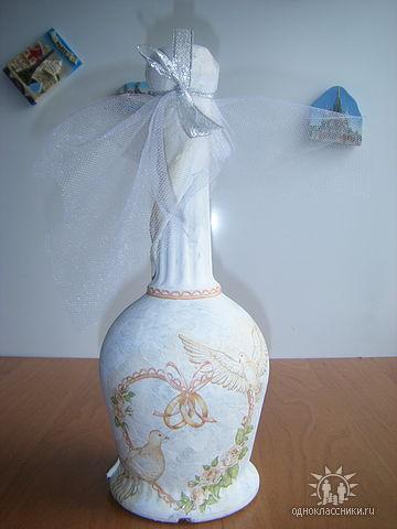 Декорирование свадебной бутылки декупажем