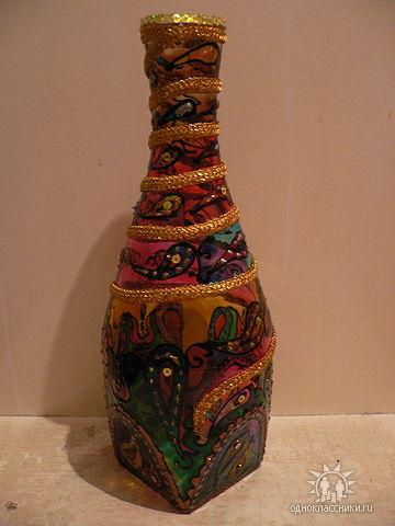 Декорирование стеклянных бутылок своими руками