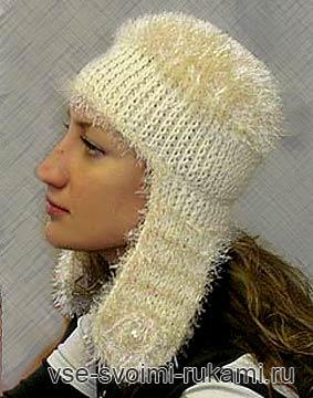 вязаная шапка с ушами