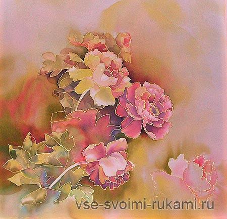 Цветы – картина на шелке пионы в