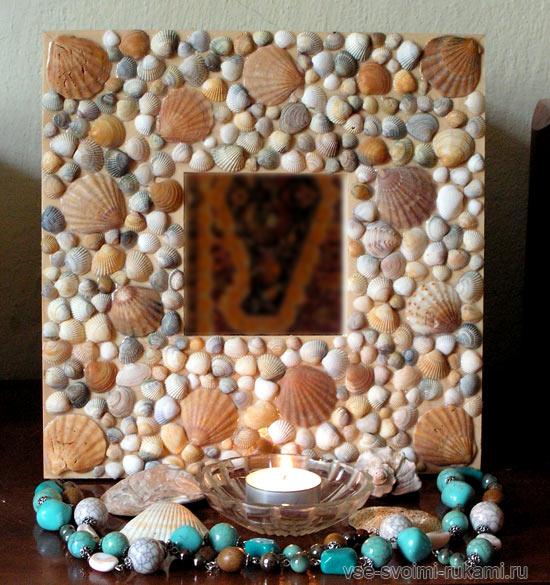 Поделки из ракушек – декор зеркала