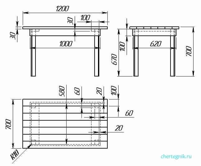 Чертеж простого кухонного стола из досок