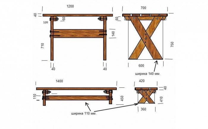 Чертеж простого дачного стола и скамейки из досок