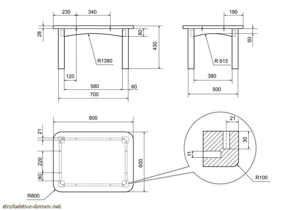 Чертеж квадратного стола для кухни