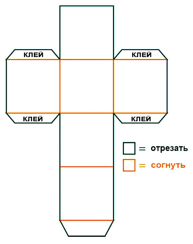 Схема квадратной коробки для подарков