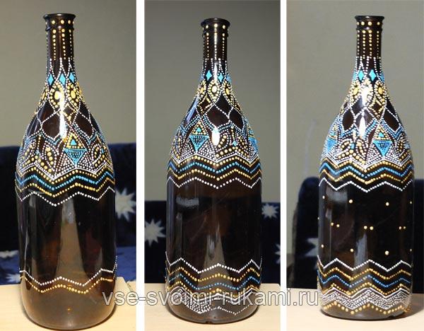 точечная роспись бутылки 2