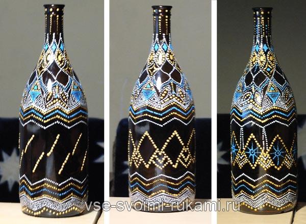 точечная роспись бутылки 3