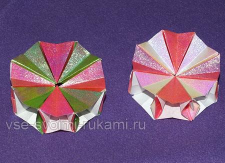 Елочная игрушка из бумаги оригами