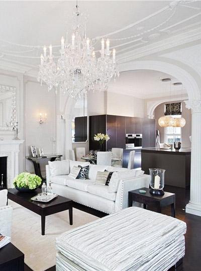 дизайн черно-белой гостиной фото