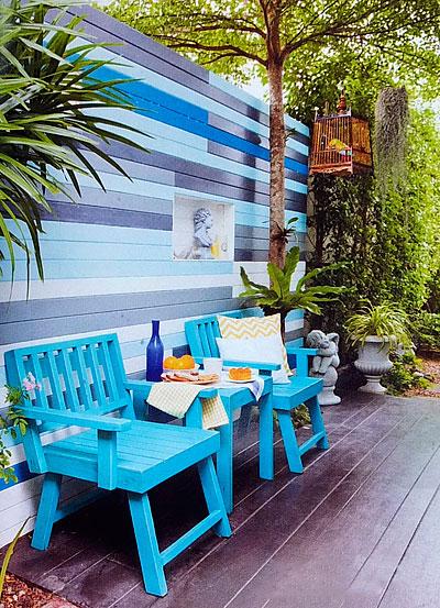 Патио с деревянным настилом