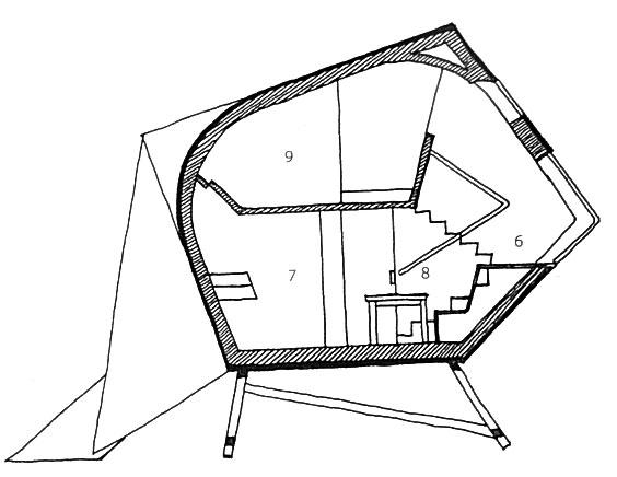 План необычного дома в разрезе 2