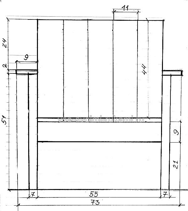 Чертеж деревянного кресла - вид спереди