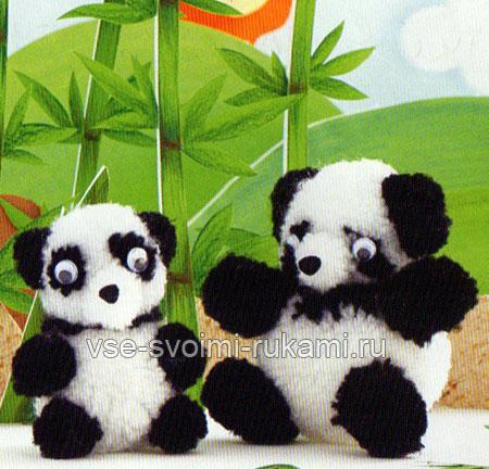 Игрушки панды из помпонов