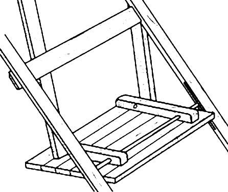 Крепление сиденья к деревянному складному стулу